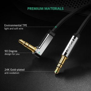 UGREEN Audio Cable, High Fidelity Right Angle, Black, 2 Meters
