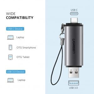 UGREEN USB C Card Reader with USB 3 Port and SD/Micro SD Slots