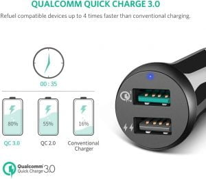 UGREEN Car Charger with 2 USB Ports, Quick Charge QC 3.0, 30W 3A