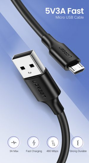 UGREEN USB to Micro USB Cable, Fast Charge, White, 1.5 Meters