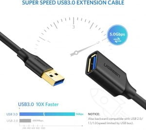 UGREEN USB Extension Cable, USB 3.0 Male to Female, 2 Meters