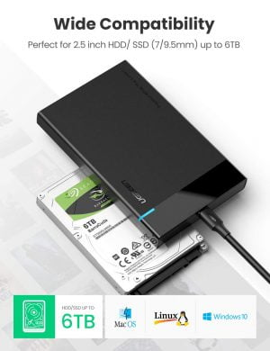 UGREEN USB C to 2.5 Inch Hard Drive Enclosure, 6Gbps Transfer Speed UASP