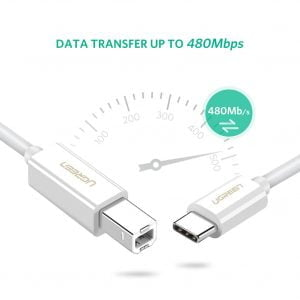 UGREEN USB C Printer Cable, White, 1.5 Meters
