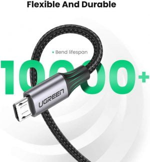 UGREEN USB to Micro USB Cable, 18W Fast Charging, Black, 2 Meters