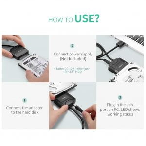 UGREEN USB to SATA Adapter for 2.5/3.5 Inch HDD/SSD with Power Adapter