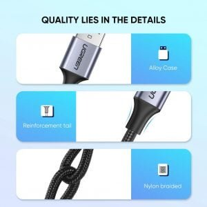 UGREEN USB to USB C Cable, Fast Charging Nylon Braided Cable, 2 Meters