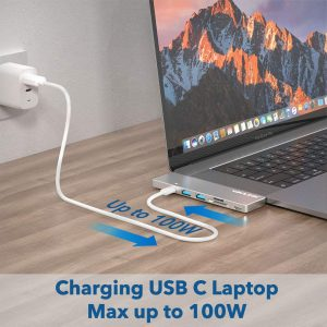 WAVLINK MacBook USB C Hub with 4K HDMI, SD/Micro Card Reader and 100W Power Delivery, Silver