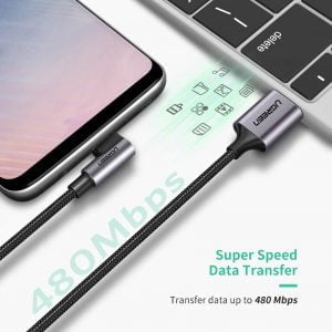 UGREEN USB to USB C Right Angle Cable, Fast Charging, 2 Meters