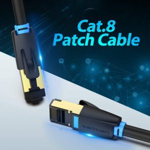 VENTION Cat 8 LAN Cable, Round, 40Gbps/2000MHz Speed, 3 Meters