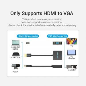 VENTION HDMI to VGA Adapter, Full HD @60Hz, 3.5mm Audio
