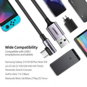 UGREEN USB to USB C Cable, 90 Degrees Fast Charging, 1 Meter