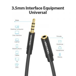 VENTION 3.5mm Audio Extension Cable, 4Pole TRRS, 1.5 Meters