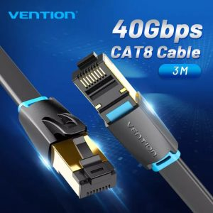 VENTION Cat8 Ethernet Cable, Flat, 40Gbps Super Speed, 3 Meters