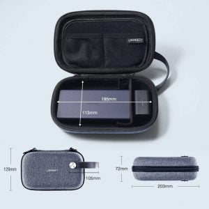 UGREEN Accessories Bag, Travel Gadget Bag, Shock-Proof Leather, Water-Proof