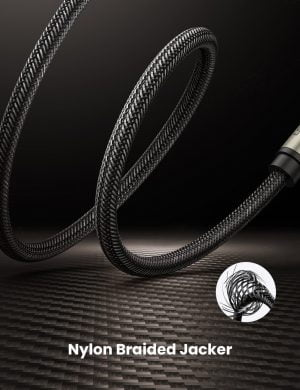 UGREEN 6.35mm to 6.35mm Cable, Male to Male with Zinc Alloy Housing and Nylon Braid, 5 Meters