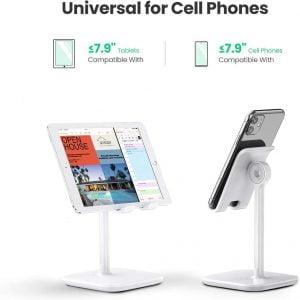 UGREEN Adjustable Mobile Stand, Multi-Angle Metal Stand, White