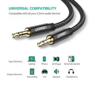 UGREEN Aux Cable, Male to Male, Nylon Braided, 2 Meters, Black