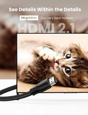 UGREEN HDMI 2.1 Cable, 8K at 60HZ Ultra HD Nylon Braided Cable, 2 Meters
