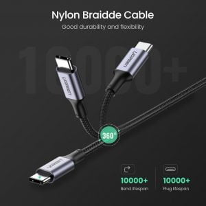 UGREEN USB C Cable for MacBook Pro, 100W Power Delivery at 5A, Nylon Braided, 2 Meters