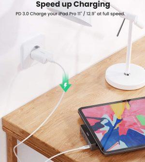 UGREEN USB C Hub for iPad Pro 2020 & 2018 Size 12.9 & 11 inch with 4K HDMI, USB 3.0, 100W PD Charging & 3.5mm Audio Jack