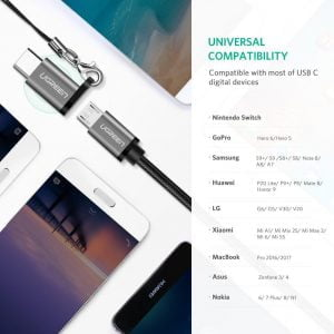 UGREEN USB C to Micro USB Adapter, Supports OTG & 18W Charging, 2 Pieces