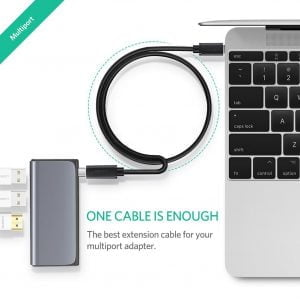 UGREEN USB C Extension Cable, Male to Female, 5Gbps Data Transfer, 4K at 60HZ Video Output, 50cm