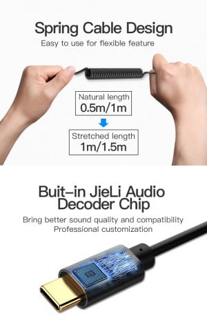 VENTION USB-C to 3.5mm Spring Audio Adapter Cable , 1 Meter