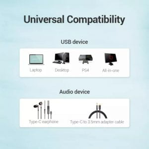 VENTION USB to USB C Audio Adapter, External USB to USB C Sound Card
