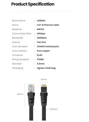 UGREEN Cat 8 Ethernet Cable, 30AWG 40Gbps Flat LAN Cable, 1 Meter
