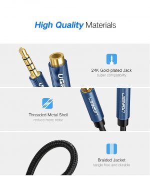 UGREEN 3.5mm TRRS Audio Extension Cable Male to Female 4 Pole Cable, 3 Meters
